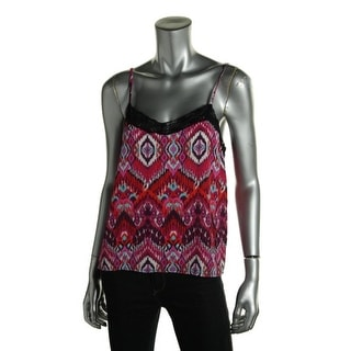 Ultraflirt Womens Printed Lace Trim Tank Top