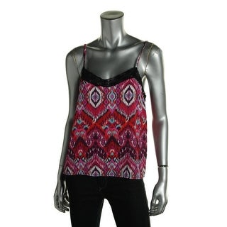 Ultraflirt Womens Tank Top Printed Lace Trim
