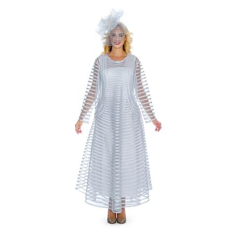 Giovanna Signature Women's 2-pc Satin & Mesh Striped Jkt Dress