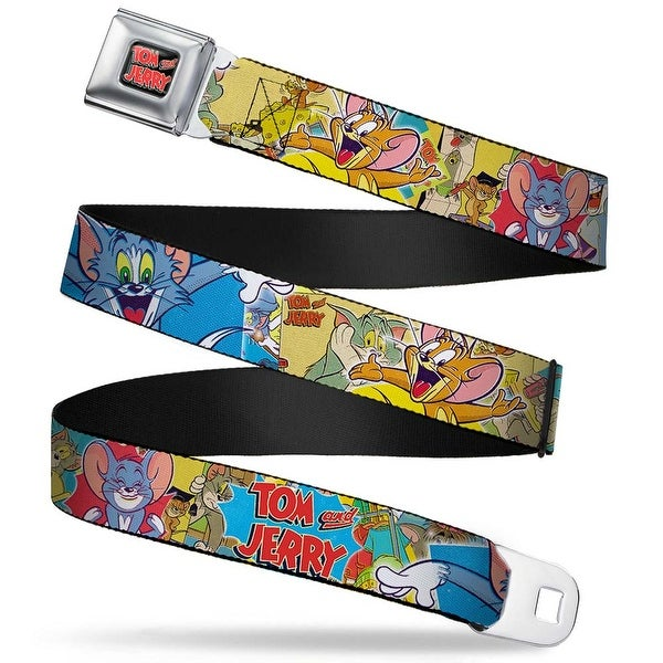 Tom And Jerry Logo Full Color Black Red Tom & Jerry Faces Stacked Scene Seatbelt Belt