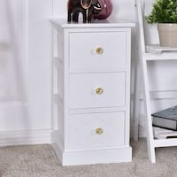 Costway 3 Drawer Wooden Bedside Cabinet Chest Table Storage End Table  Furniture - White