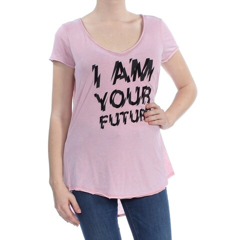 WILLIAM RAST Womens Pink Graphic Print T Shirt Short Sleeve V Neck Top Size: M