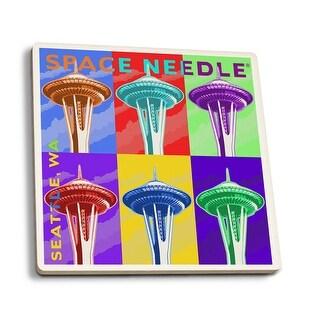 Seattle, WA - Space Needle Pop Art - LP Artwork (Set of 4 Ceramic Coasters)