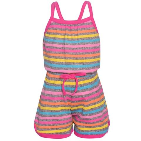 9212e85b520de Real Love Little Girls Fuchsia Multi Color Stripe Tie Casual Romper