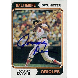 Signed Davis Tommy Baltimore Orioles 1974 Topps Baseball Card autographed
