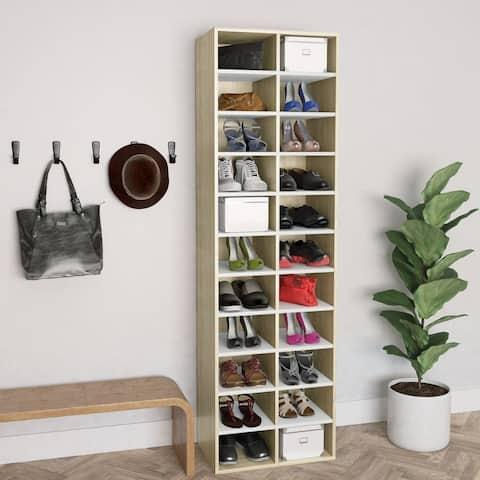 "vidaXL Shoe Cabinet White and Sonoma Oak 21.2""x13.3""x72"" Chipboard - N/A"