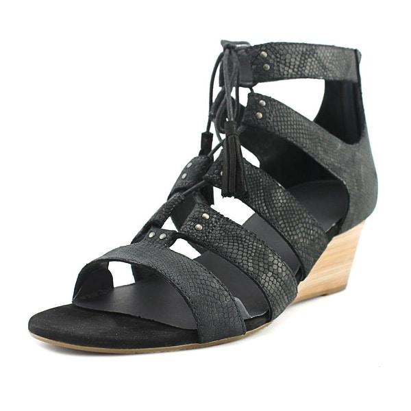 Ugg Australia Yasmin Snake Women Open Toe Leather Black Wedge Sandal