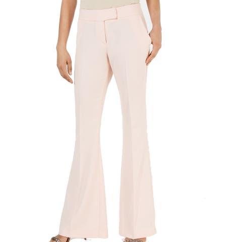 Rachel Zoe Womens Dress Pants Soft Pink Size 8 Belted Wide Leg Stretch