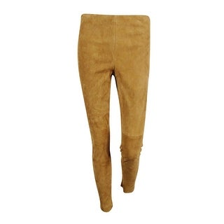 Lauren Ralph Lauren Women's Suede Skinny Pants - hunter tan