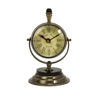 "Elegant Antique Style Brass Pedestal Desk Clock 7"""