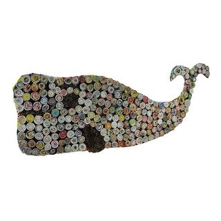 Colorful Wound Whale Recycled Rolled Paper Art On Wood Wall Hanging 27 Inch - White