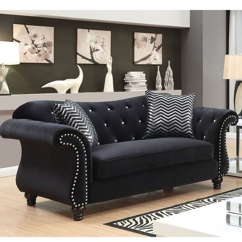 Furniture of America Tese Traditional Fabric Nailhead Sofa