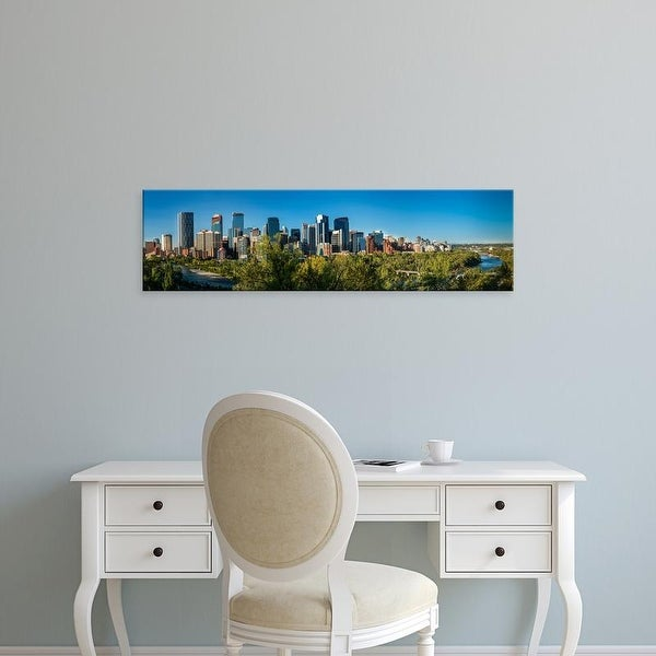 Easy Art Prints Panoramic Images's 'Skylines in a city, Bow River, Calgary, Alberta, Canada' Premium Canvas Art