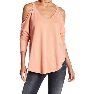 Melrose & Market Coral Women Medium Cold-Shoulder Pullover Sweater
