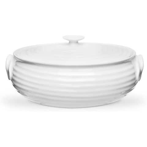 Portmeirion Sophie Conran White Small Oval Covered Casserole - 3.5 pt / 9 inch