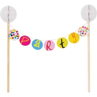 Club Pack of 12 Vibrantly Colored Birthday Dots Cake Banner Toppers 9 - Pink