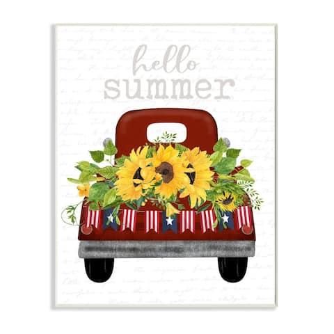 Stupell Industries Hello Summer Quote Sunflower Flower Patriotic Truck Wood Wall Art