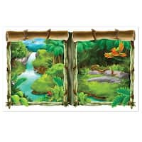 """Pack of 6 Jungle Insta-View Lush Tropical Jungle Theme Wall Decoration 62"""" - Green"""