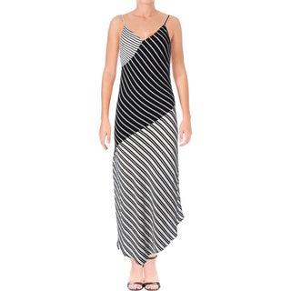 Aqua Womens Maxi Dress Crepe Striped