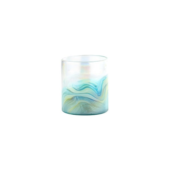 """6.5"""" Blue and Yellow Abstract Design Cylindrical Glass Vase - N/A"""