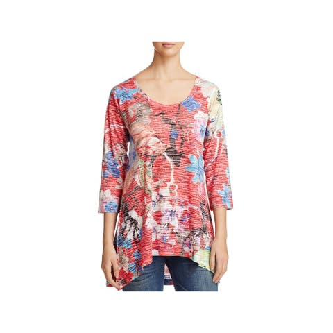 Nally & Millie Womens Casual Top Burnout Floral Print