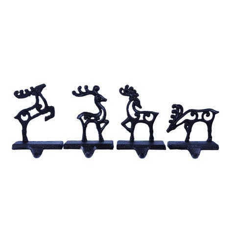 Set of 4 Charcoal Black Christmas Deer Stocking Holders 7""