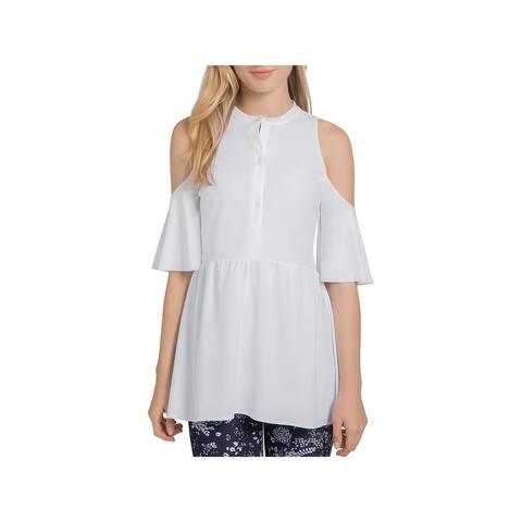 Lysse Womens Peplum Top Cold Shoulder Button-Down