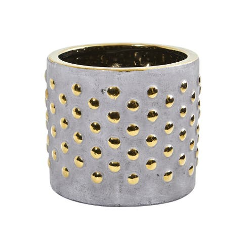 """7"""" Regal Stone Hobnail Planter with Gold Accents"""