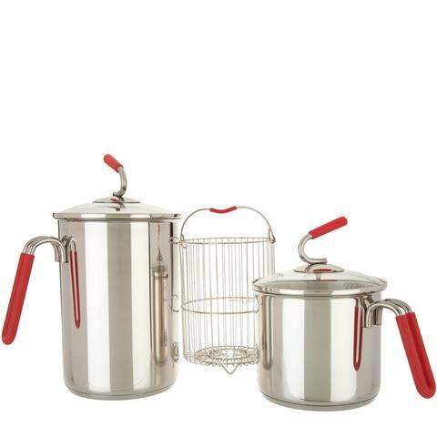 Kuhn Rikon Set of (2) Stainless Steel Burner Pot with Strainer K48186