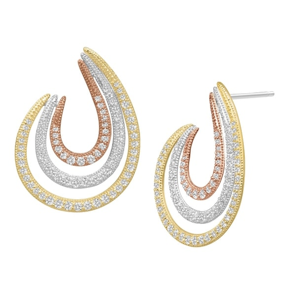 Swirl Earrings with Cubic Zirconia in 14K Yellow & Rose Gold-Plated Sterling Silver - White