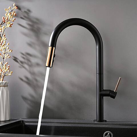 Single handle hot and cold kitchen faucet (black + rose gold) - 8' x 10'