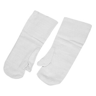 Unique Bargains Pair Replacements Cotton Blends Heat Resistant Cake Baking Oven Gloves White