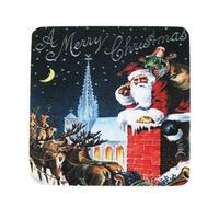 """Pack of 8 Absorbent Santa Claus Chimney Merry Christmas Cocktail Drink Coasters 4"""" - Multi"""