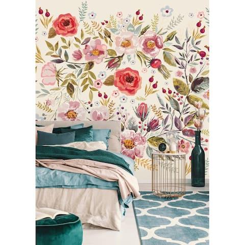 Vintage Berries and Flowers Wallpaper Mural