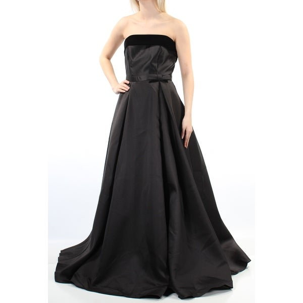 c2a5a27fb190 Shop XSCAPE Womens Black Velvet Sleeveless Strapless Full Length A-Line  Formal Dress Size: 6 - Free Shipping On Orders Over $45 - Overstock -  22644371