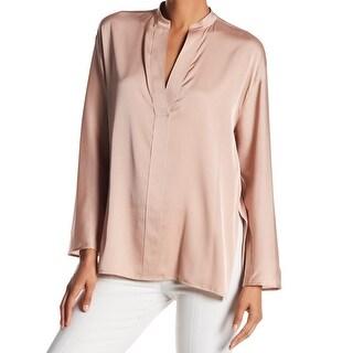Vince Rose Hip Pink Womens Size 10 Split-Neck Side-Slit Blouse