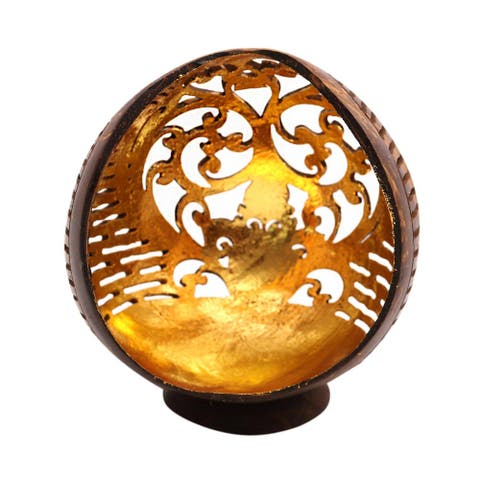 """Handmade Golden Palace Coconut Shell Catchall (Indonesia) - 5"""" H x 3.9"""" W x 3.5"""" D"""