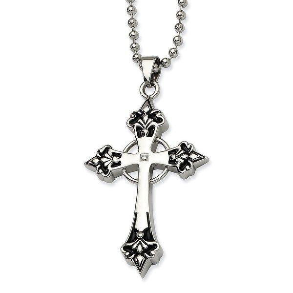 Chisel Stainless Steel Black Enamel & Diamond Cross Pendant 24 Inch Necklace (2 mm) - 24 in