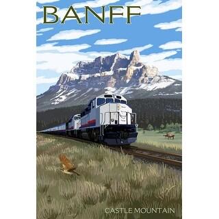Banff, Canada - Castle Mountain Train - LP Artwork (100% Canvas Tote Bag Gusset