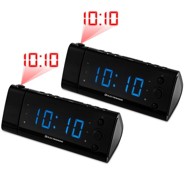 Electrohome USB Charging LED Alarm Clock Radio with Time Projection, Battery Backup, Auto Time Set - 2 PACK
