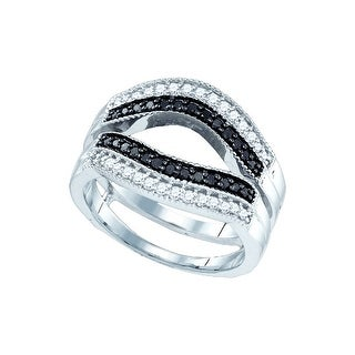 10kt White Gold Womens Round Black Colored Diamond Ring Guard Wrap Solitaire Enhancer 1/2 Cttw