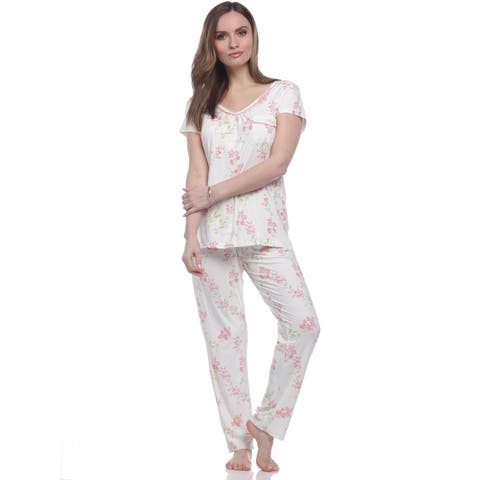14f419cf1e9 Body Touch Women s Satin Piping V-Neck Short Sleeve Pant Pajama Set