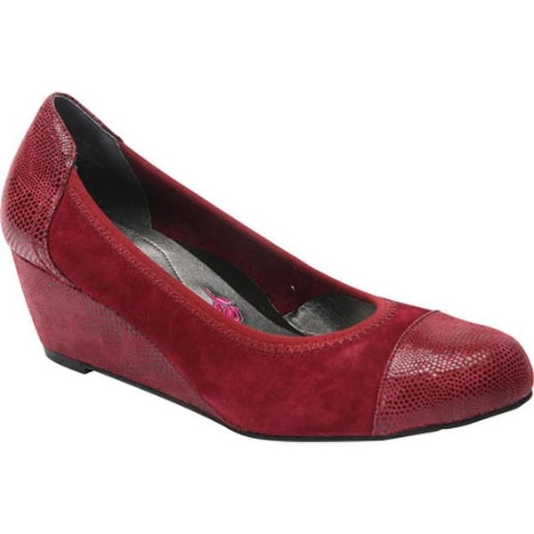 c1f3f11d5 Shop Ros Hommerson Women's Harlow Cap Toe Wedge Wine Combo Suede/Lizard  Print - Free Shipping Today - Overstock - 12309948