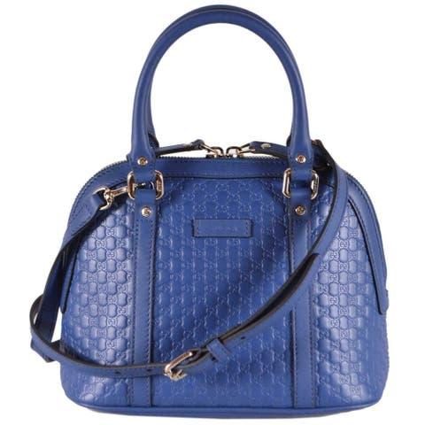 Gucci 449654 Caspian Blue Leather Micro GG Mini Dome Satchel W/Strap