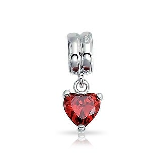 Bling Jewelry CZ Red Heart Charm 925 Sterling Silver Valentines Day Birthstone Bead For Bracelet