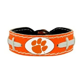 Clemson Tigers Team Color NCAA Gamewear Leather Football Bracelet