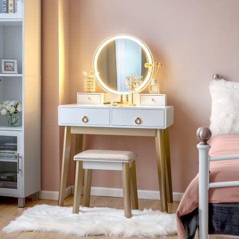 White 3-piece Vanity Table Set with Adjustable LED Light
