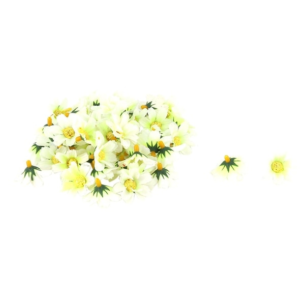 Household Garden Fabric Daisy Shaped DIY Decoration Table Flower Heads Pale Green 50 Pcs