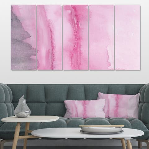 Designart 'Pink Abstract Watercolor' Shabby Chic Canvas Artwork Print