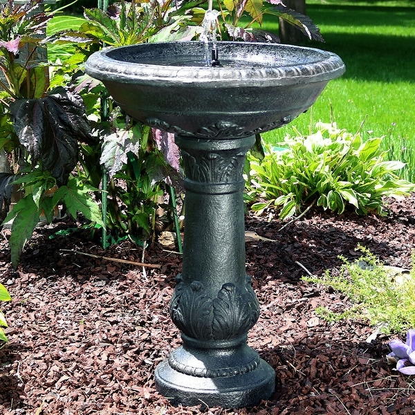 Sunnydaze Oasis Bird Bath Solar Water Fountain - Solar-on-Demand - 26-Inch